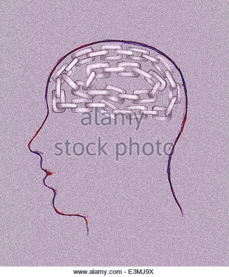 Gliederkette im Kopf des Mannes Stockbild