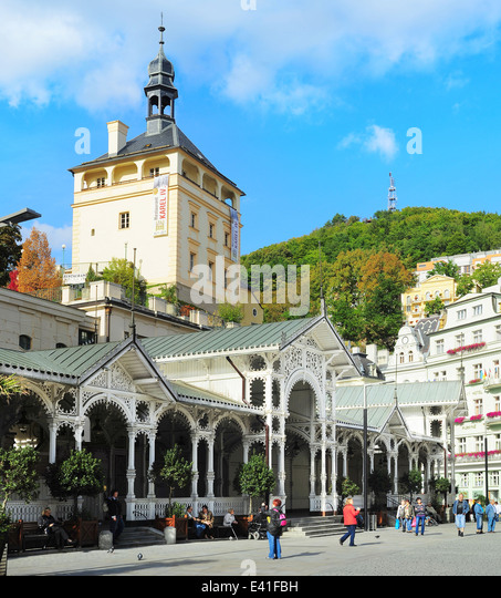 Hot Springs Kolonnade in Karlovy Vary/Karlsbad Stockbild