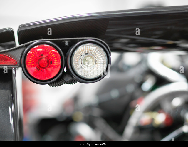 Supersportwagen Rückleuchten Detail, Nahaufnahme Stockbild