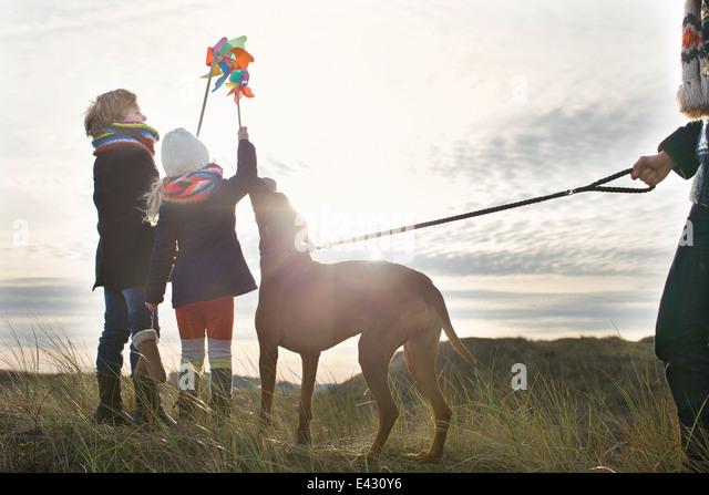 Mitte erwachsenen Mannes mit Sohn, Tochter und Hund an Küste Stockbild