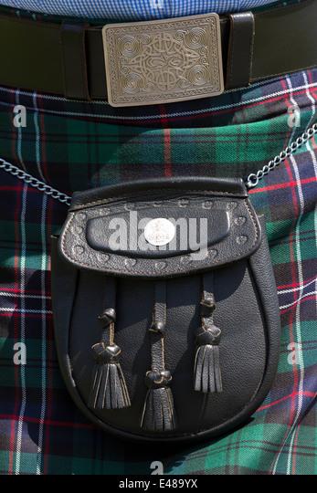 Highland Dress Tartan Kilt mit Sporran getragen in den Highlands von Schottland vor der schottischen Unabhängigkeitsreferendum Stockbild