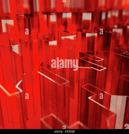 rote Glas akute abgewinkelten Abstraktion Stockbild