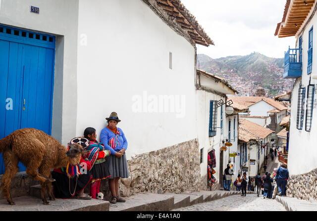 Straßenszene in San Blas Nachbarschaft, Cuzco, Peru, Südamerika Stockbild