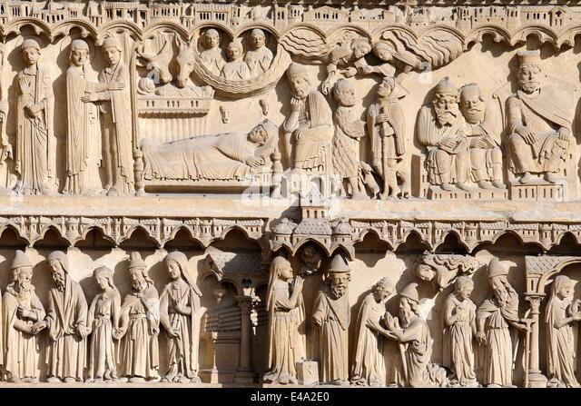 Leben der Jungfrau Maria, St. Anne Portal, Westfassade, Kathedrale Notre-Dame de Paris, Paris, Frankreich Stockbild