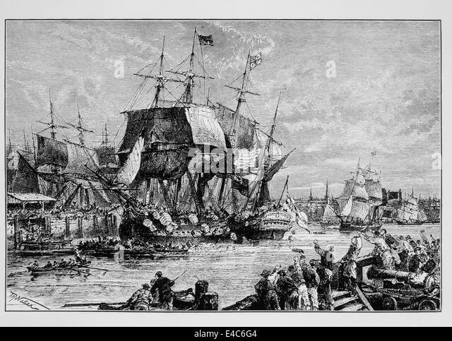 Boston Tea Party, 1773, Illustration Stockbild