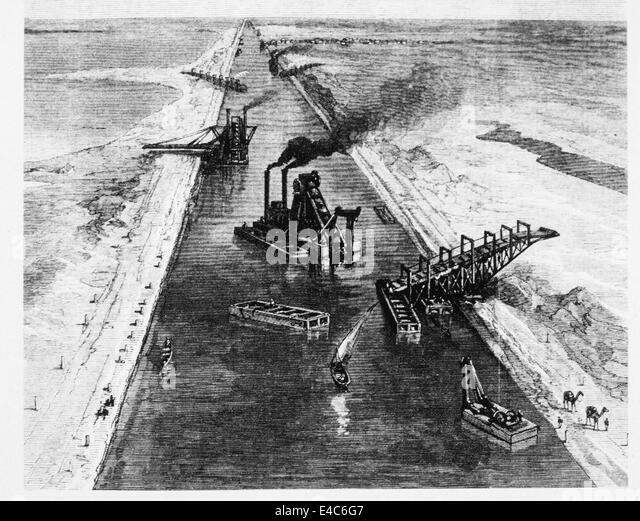 Ausbaggern der Suezkanal, Ägypten, Abbildung, Juli 1869 Stockbild