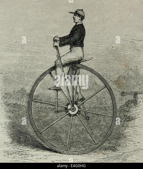 Einrad. des 19. Jahrhunderts. Gravur. Stockbild