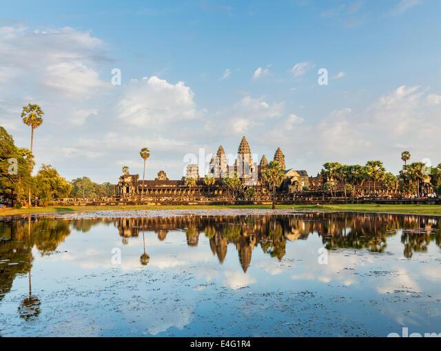 Kambodscha Angkor Wat mit Spiegelung im Wasser Wahrzeichen Stockbild