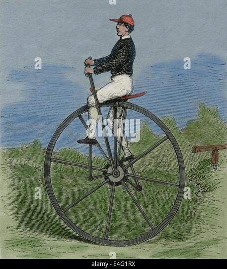 Einrad. des 19. Jahrhunderts. Gravur. Spätere Färbung. Stockbild