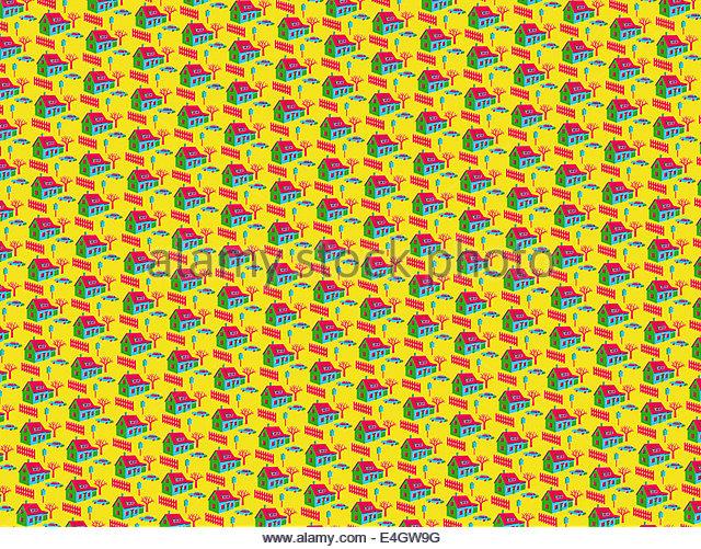 Full-Frame wiederholen Haus Muster auf gelbem Hintergrund Stockbild