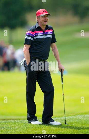 Welsh Komiker Rob Brydon Celebrity Golf Cup in Celtic Manor, South Wales zu spielen. Stockbild