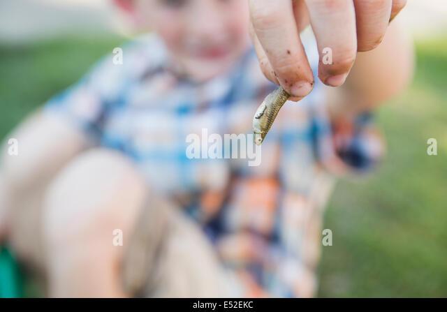 Ein kleiner Junge, ein kleiner Fisch in den Fingern hält. Stockbild