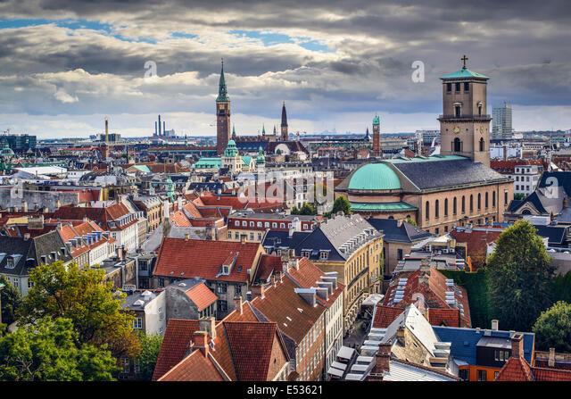Alten Skyline von Kopenhagen, Dänemark. Stockbild