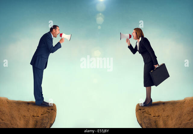 Business Konzept Konflikt Megaphon Geschäftsmann und Geschäftsfrau Stockbild