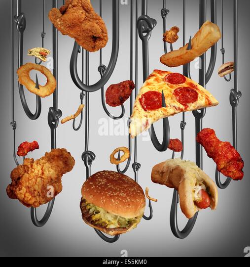 Sucht-Gesundheits-Konzept Essen mit einer Gruppe von Metall Angelhaken mit Fast-Food als menschliche Köder Stockbild