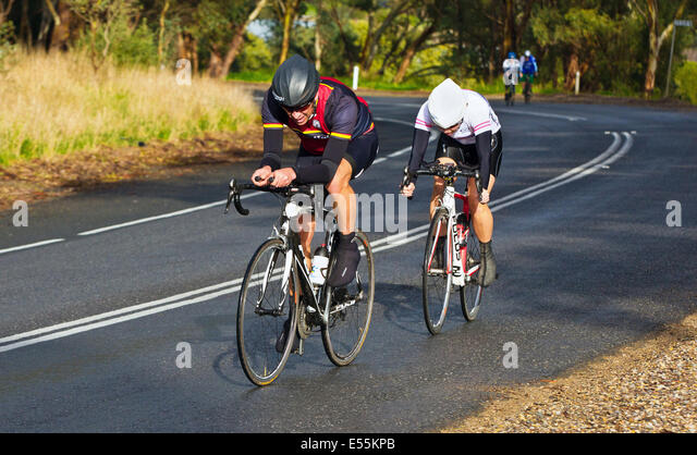 Südlichen Bezirke Veteranen und Ladies Cycling Club racing McLaren Wohnung Süd Australien Fleurieu Peninsula Stockbild