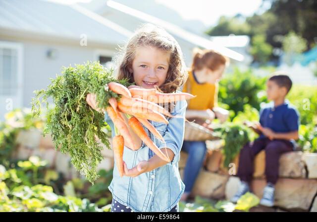 Mädchen halten Bund Karotten im Garten Stockbild