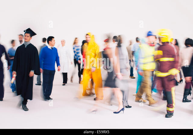 Mitarbeiter unterwegs Stockbild
