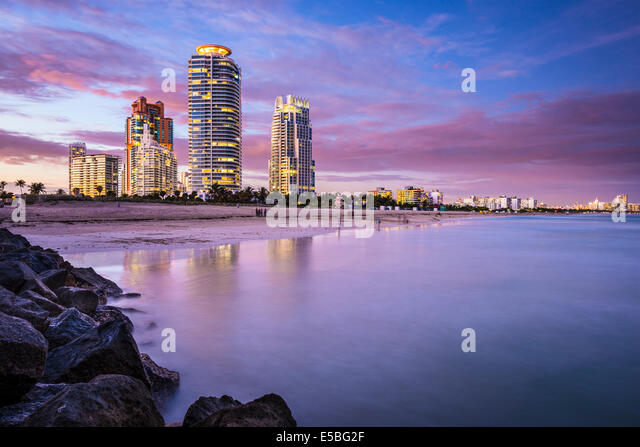 Miami, Florida, USA am Südstrand. Stockbild