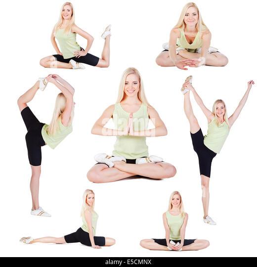 Yoga-Übungen-Collage auf weißem Hintergrund Stockbild