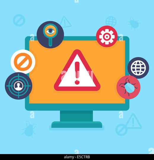 Flach, Icons und Illustrationen - Internet Security und Virus-Warnung - Computer-Angriff und Virus-Infektion Stockbild