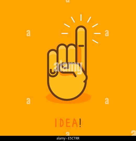 abstrakte Kreativkonzept - Handsymbol mit Finger zeigen nach oben - Abbildung im Umriss-Stil Stockbild