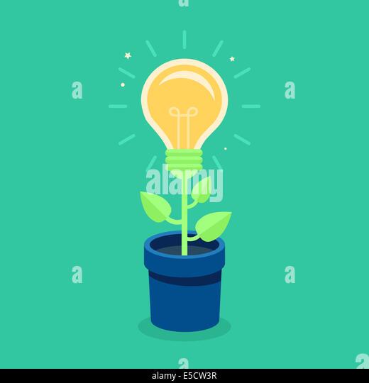 Kreatives Konzept in flachen Stilikone - Licht Birne wächst aus dem Blumentopf - Idee Stockbild