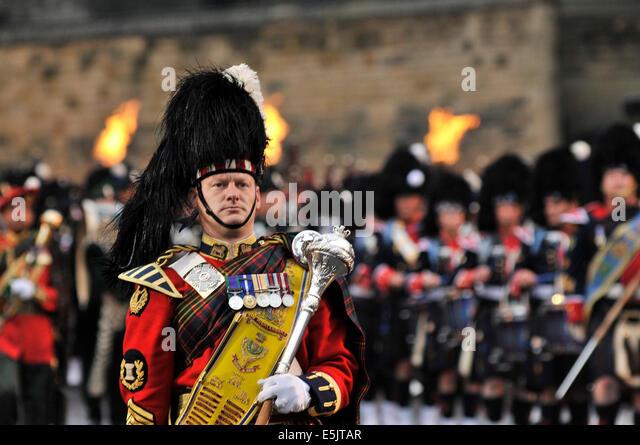 Edinburgh, Schottland. 2. August 2014. Das Royal Edinburgh Military Tattoo findet auf dem Vorplatz der Welt berühmten Stockbild