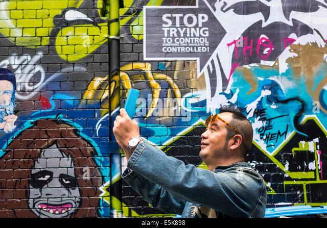 Melbourne Australien Victoria central business district cbd hosier Lane urban street art Wandbilder asiatischer Stockbild