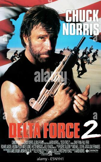 DELTA FORCE 2, Chuck Norris, 1990, © MGM/Courtesy Everett Collection, deltaforce2_1sht, Foto von: Everett Collection Stockbild