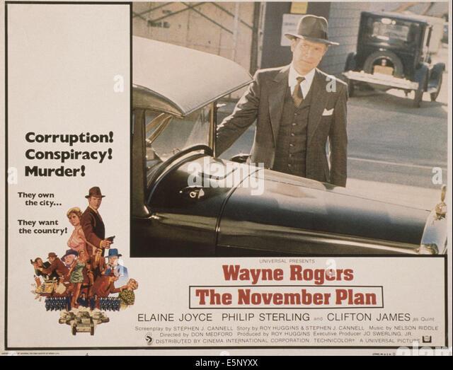 DER NOVEMBER planen, US-Plakat, Wayne Rogers, 1977 Stockbild