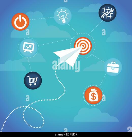 Business-Konzept-Papier Flugzeug und Finanzen Ikonen fliegen Stockbild