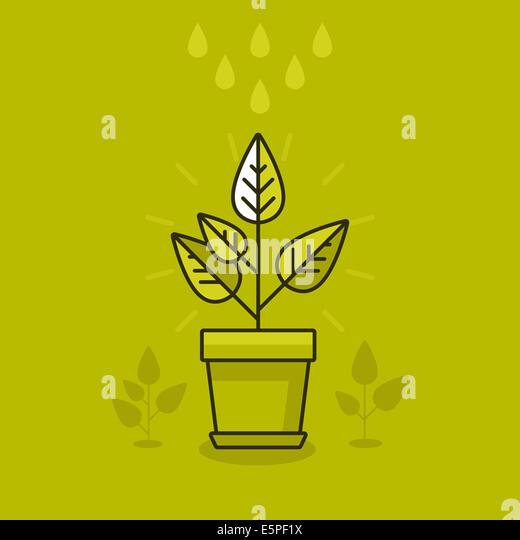Abstrakte Wachstum Konzept - neue Pflanze im Topf - Symbol im flachen Stil Stockbild