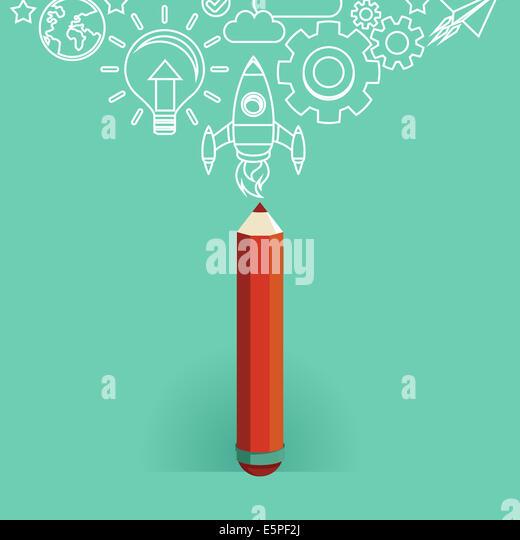Grafik-Design-Konzept - Symbole im flachen Stil - Inbetriebnahme Stockbild