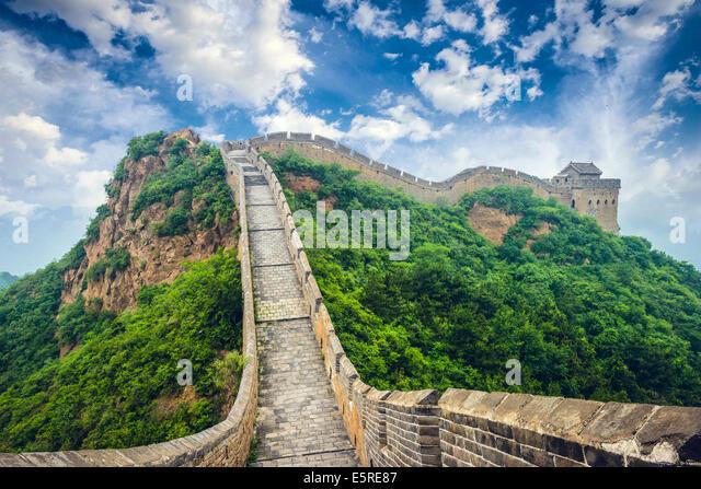 Great Wall Of China. Unrestaurierten Abschnitte bei Jinshanling. Stockbild