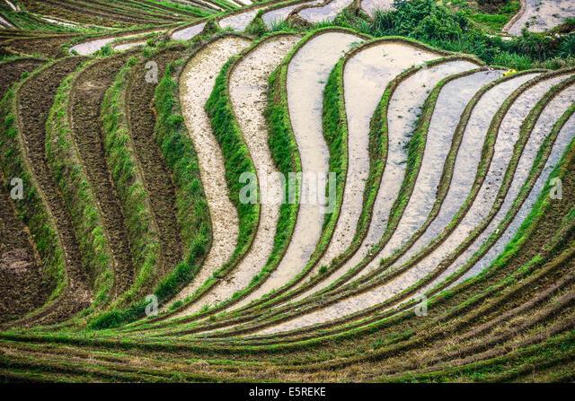 Dorf auf Yaoshan Berg in Guangxi, China. Stockbild