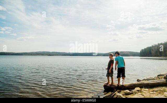 Zwei jungen stehen auf gefallenen Baum schaut in See Stockbild