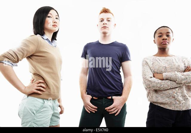 Studio-Porträt von drei einzelnen Jugendlichen Stockbild