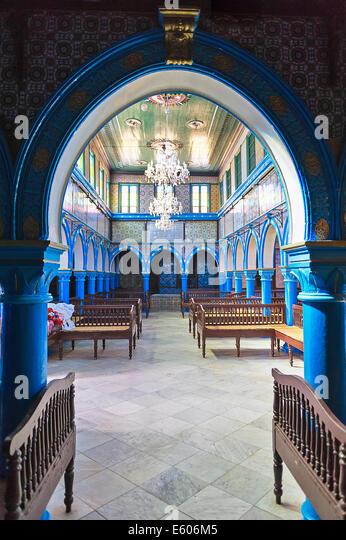 Afrika, Nordafrika, Maghreb, Süd-Tunesien, Djerba Insel. Governorat von Medenine. Hara Sghira. Ghriba-Synagoge. Stockbild