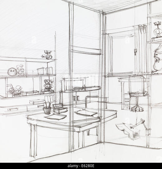 Hand Drawn Architectural Perspective Apartment Stockfotos