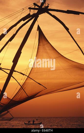 Chinesische Fischernetze, Cochin, Kerala, Indien Stockbild