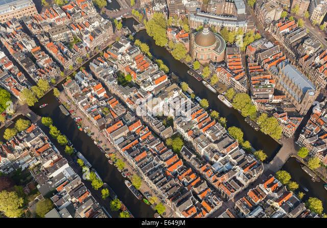 Luftaufnahme von Amsterdam, Holland, Niederlande Stockbild