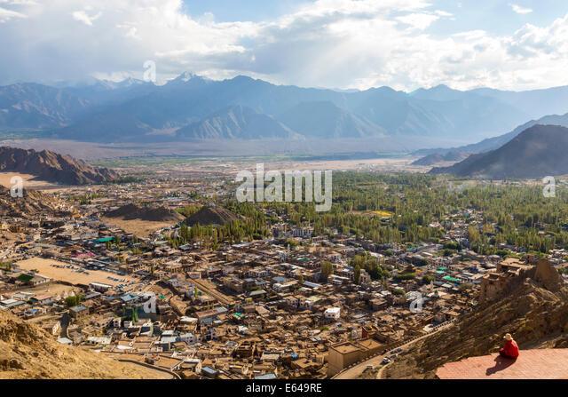 Blick über Leh, Ladakh, Indien Stockbild