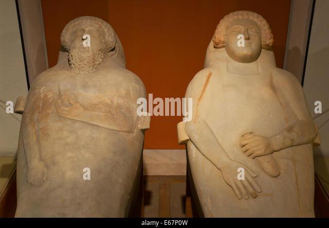 Phönizische Menschenaffen Sarkophage - 5. Jahrhundert v. Chr., Museum der Provinz Cádiz, Region Andalusien, Stockbild