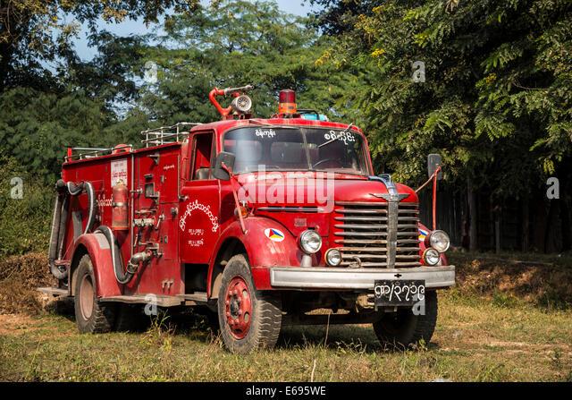 Feuerwehrauto, Sagaing, Sagaing Region, Myanmar Stockbild