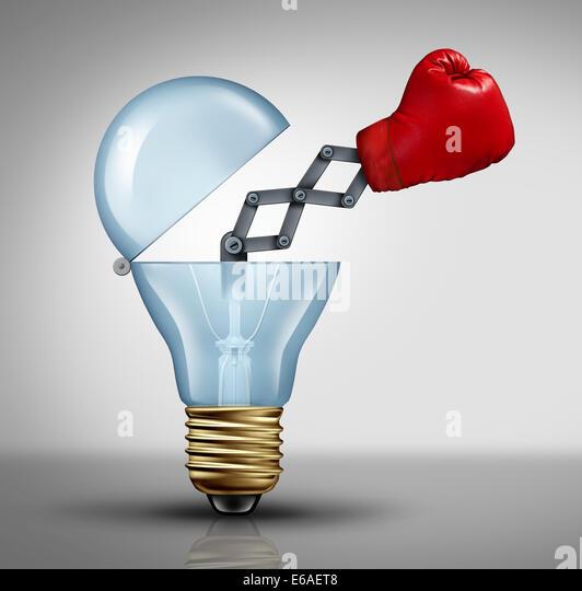 Kreative Waffe Symbol und Spiel-Wechsler Geschäftskonzept für die Macht der Ideen und kämpfen um Stockbild