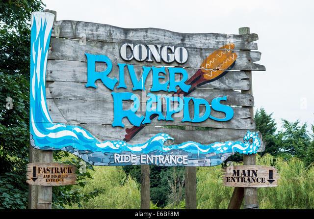 Congo River Rapids Freizeitpark fahren Zeichen in Alton Towers resort Stockbild