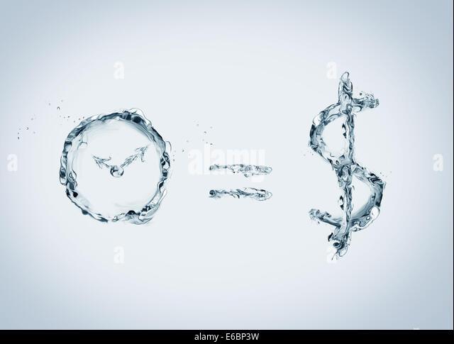 Ein Geschäftskonzept, darstellt das Sprichwort sagt, die Zeit ist Geld. Alle Elemente aus Wasser gemacht. Stockbild