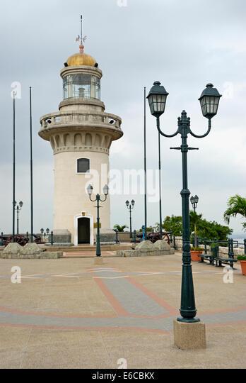 Leuchtturm auf Cerro Santa Ana, Guayaquil, Ecuador, Südamerika Stockbild