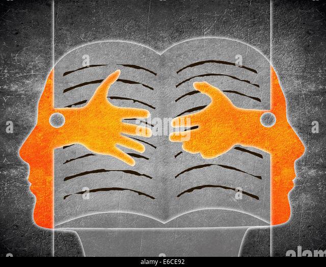 digitale Illustration mit zwei Person und Buch Stockbild